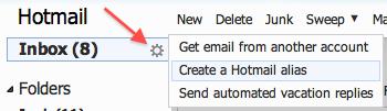Windows Live Hotmail: How To Create an Alias (Temporary