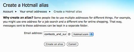 how to delete alias hotmail