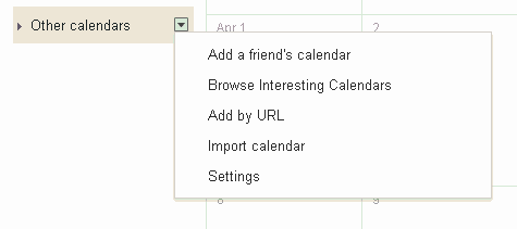 "Select ""import calendar"" from the left column."