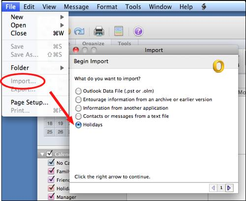 click import and then select holidays