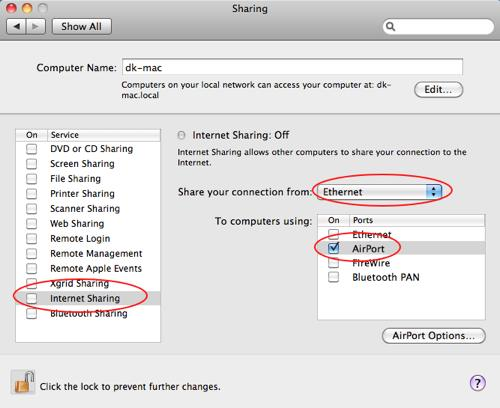 select ethernet and airport settings