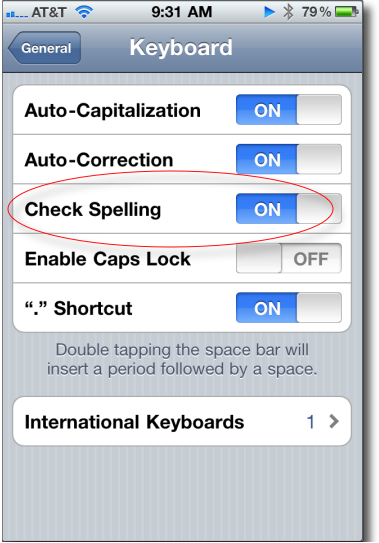disable spelling checking on iPhone