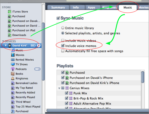 how to transfer voice memos using itunes