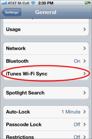 shows how to sync with iTunes with wi-fi