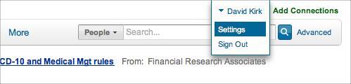select settings in LinkedIn