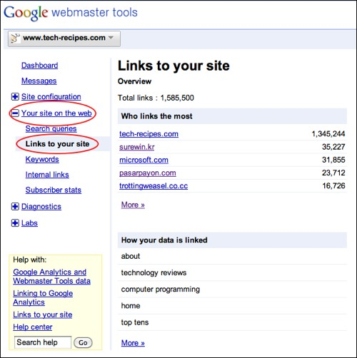 finding links to a site using google webmaster