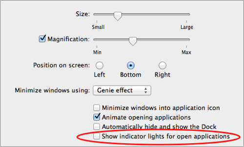 enable indicator lights for open applications
