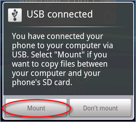 click the mount usb button