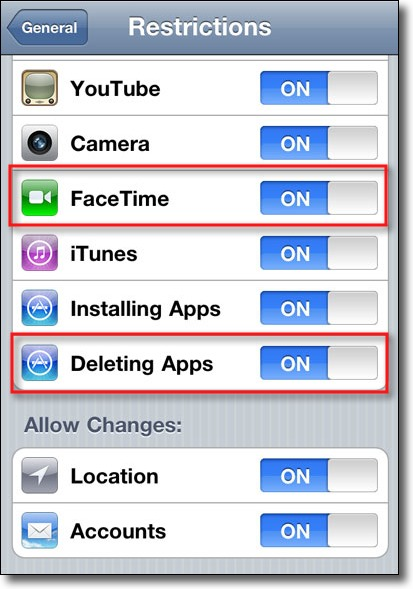 block facetime or app deletion through restrictions