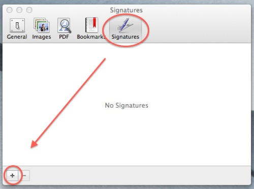 manage signatures dialog box