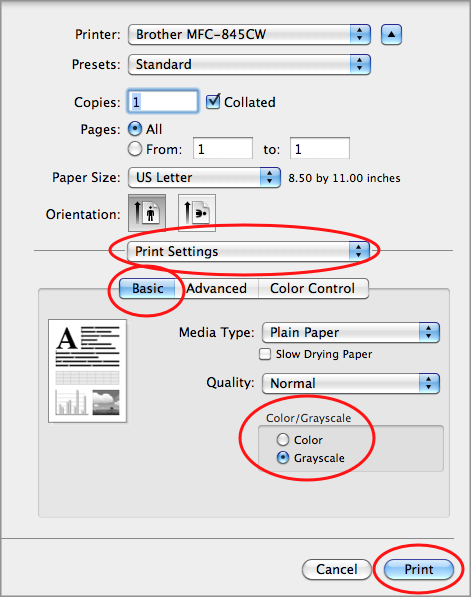 How to Print in Black & White from a Mac