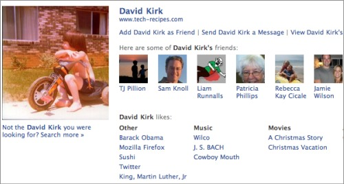 preview of a facebook profile visible on google