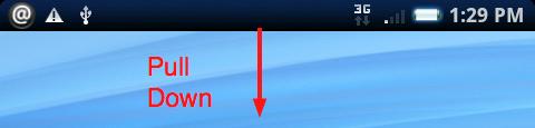 x10 pull down status screen