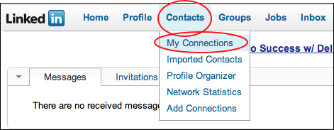 select contacts then my connection