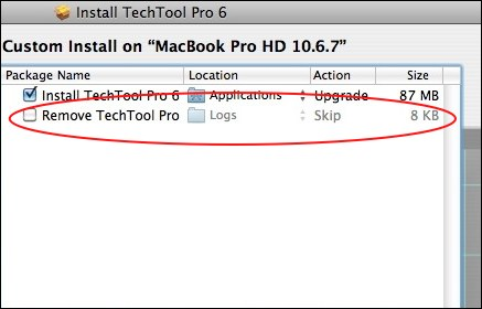 automatic removal of techtool pro