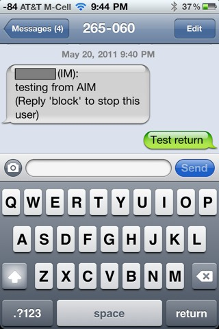 replying to a text message sent from AIM