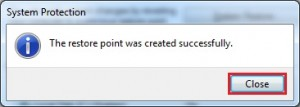 restore point created