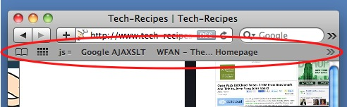 example of safari's bookmarks toolbar