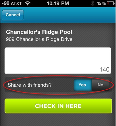 toggle No under Share with Friends
