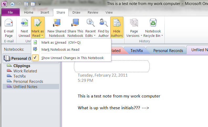 Microsoft Onenote 2010: Hide Author Tags and Highlighting of New Changes
