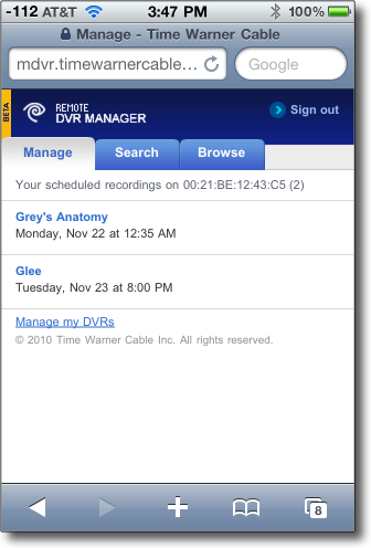 select a button to manage your dvr