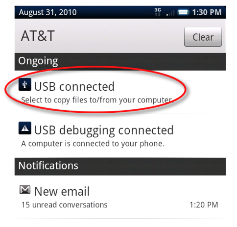 click the usb connected button on the x10