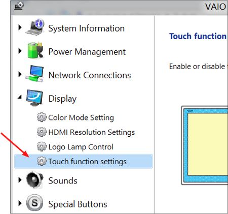 select touch function settings