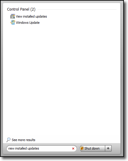 selecting the view installed updates menu