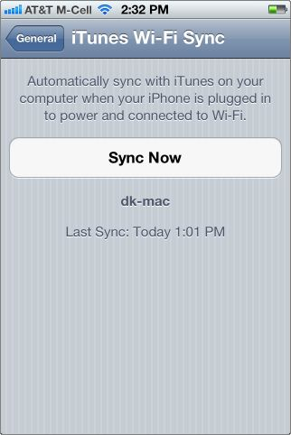 sync now button for manual iTunes wifi sync