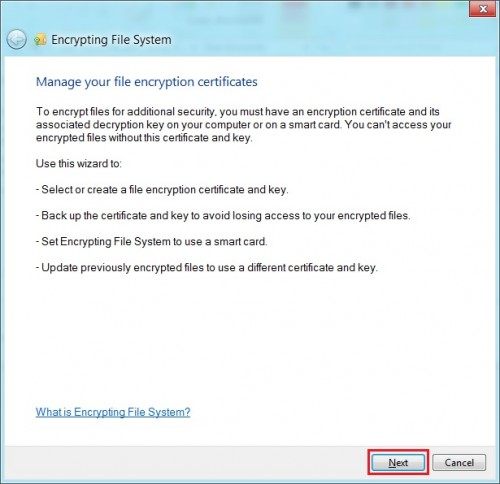 Create A File Encryption Certificate and Key For Windows 8